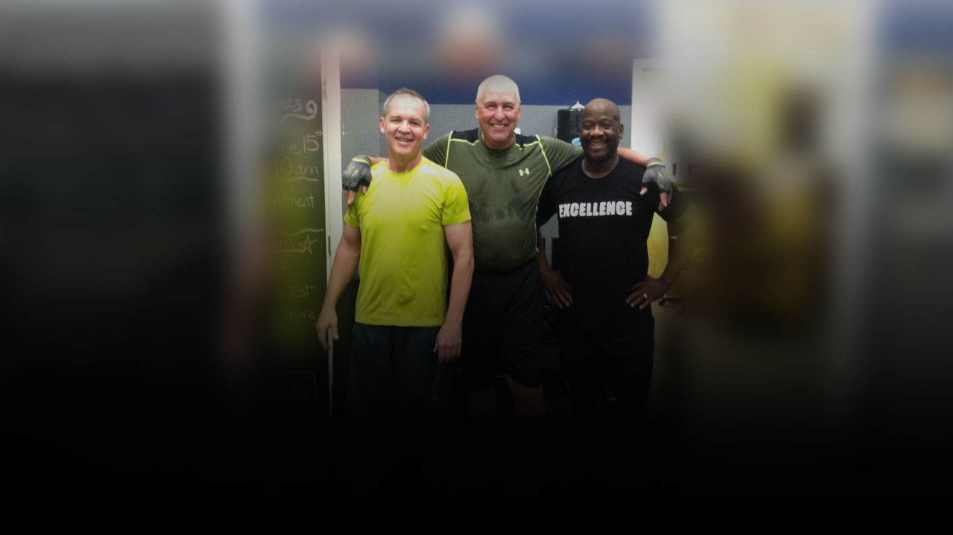 gym members smiling after exercising
