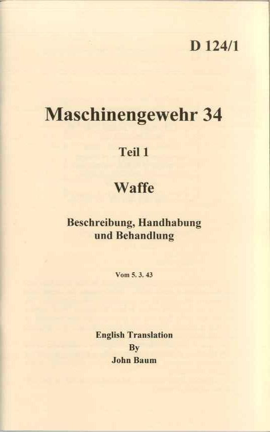 Mg34 Operators manual WW2