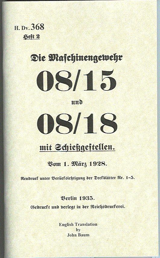 08/15 08/18 Operator's Manual H.Dv. 368, Heft 2