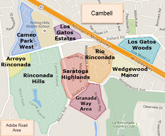 West Los Gatos neighborhoods