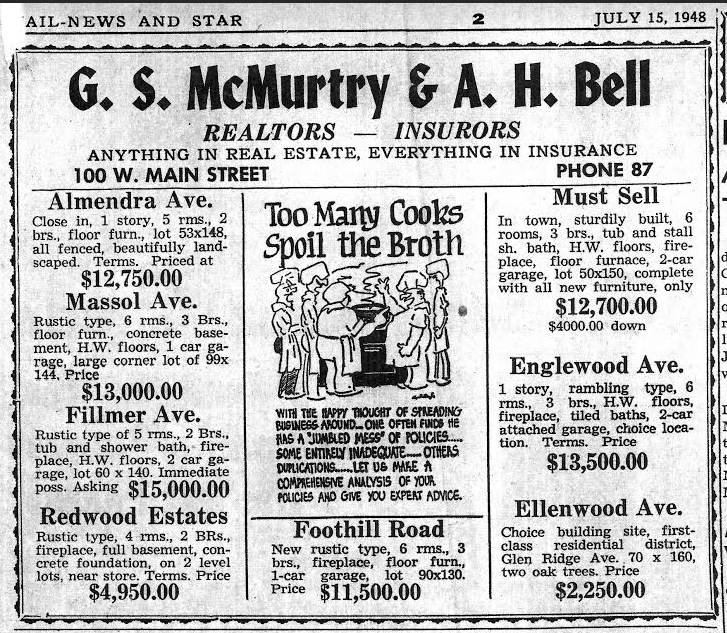 Los Gatos real estate ad from 1948