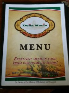 2019-03-01 Doña Maria Mexican Restaurant in Los Gatos Menu