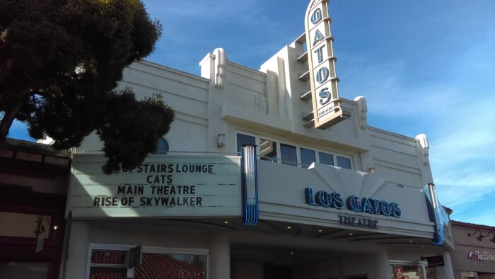 Photo of the Gatos Theatre with the marquis showing the current film as Cats - in downtown Los Gatos (which means The Cats)