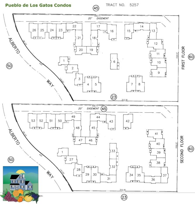 Pueblo de Los Gatos map first and second floor unit numbers - click to enlarge