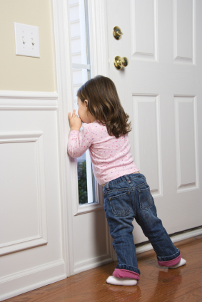 toddler by the door