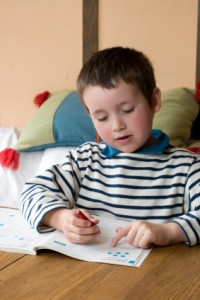 boy doing home work