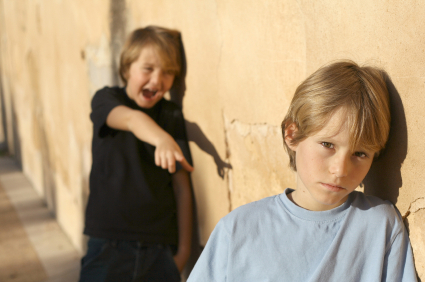Bully Pointing And Laughing At Boy