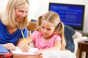 homework with mom and daughter