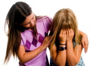 girl caring for friend
