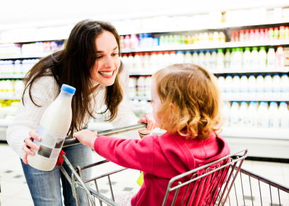 Mom at SuperMarket with Kid