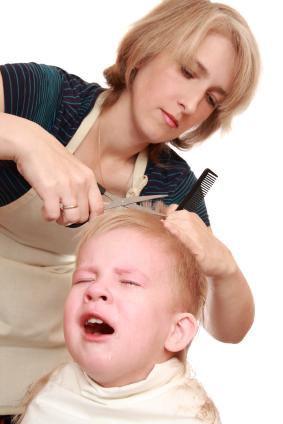 kid crying at haircut