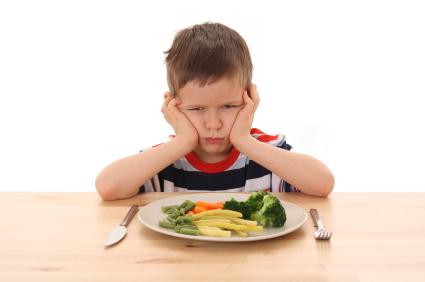 boy wont eat his vegetables