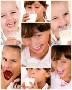 Children eating protein foods