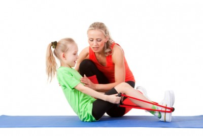 Physical therapist treats child