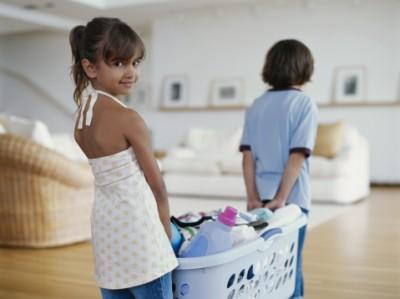 Children doing household chores
