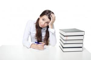 girl with homework books
