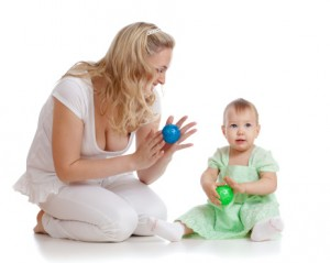mom and child with a ball