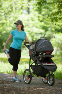 exercising stroller mom