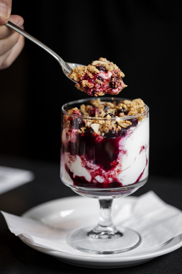 Greek yogurt and cranberries