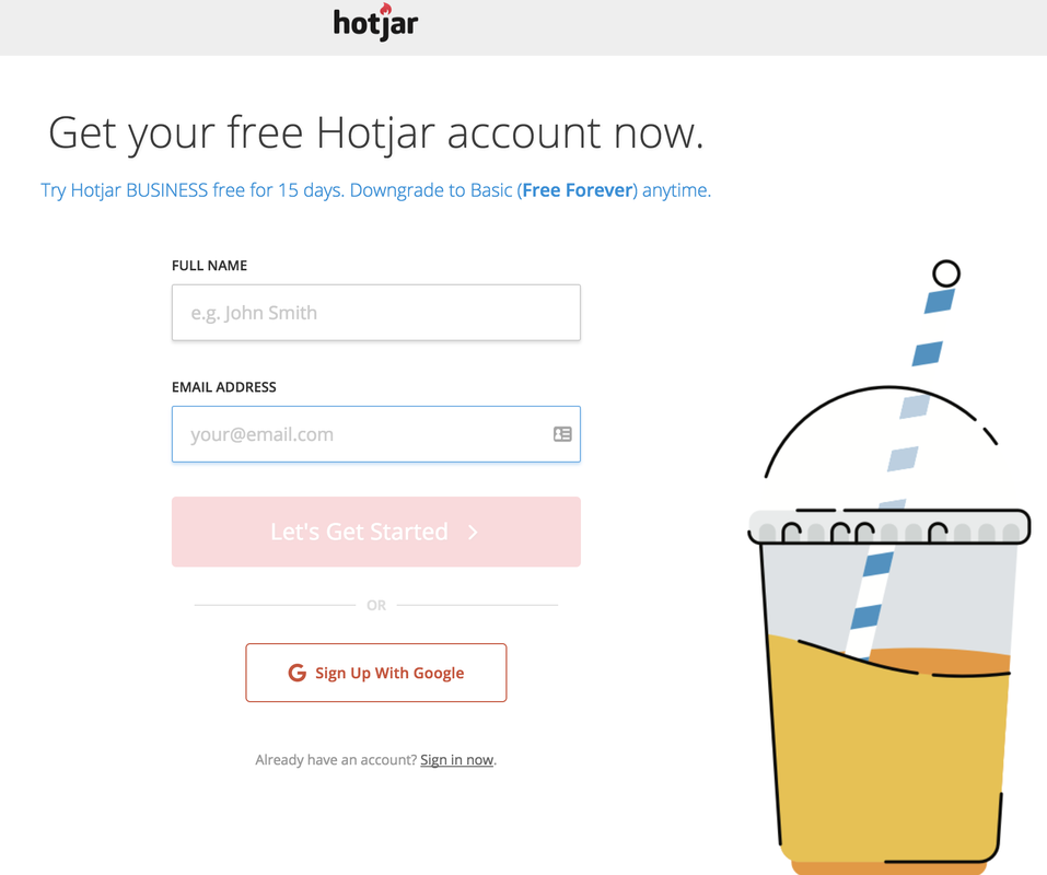 Hotjar-account-signup-page