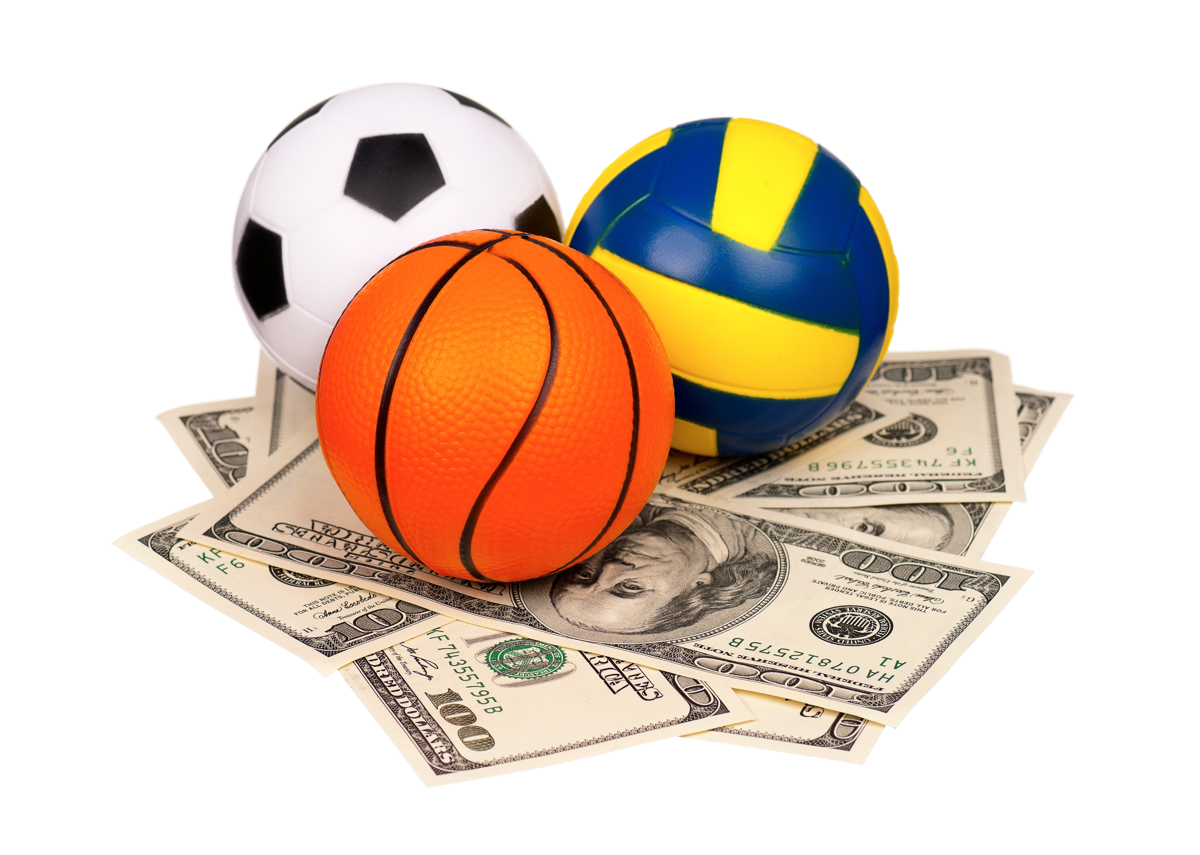 Soccer, basketball, vollyball on dollars
