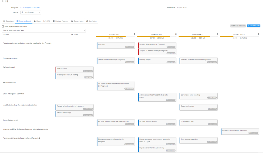 PI Planning - Program Board - Set Capacity, View and add features, break down features into stories