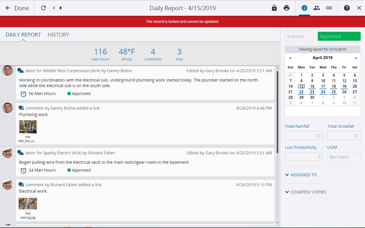 Daily reports created by construction field management software