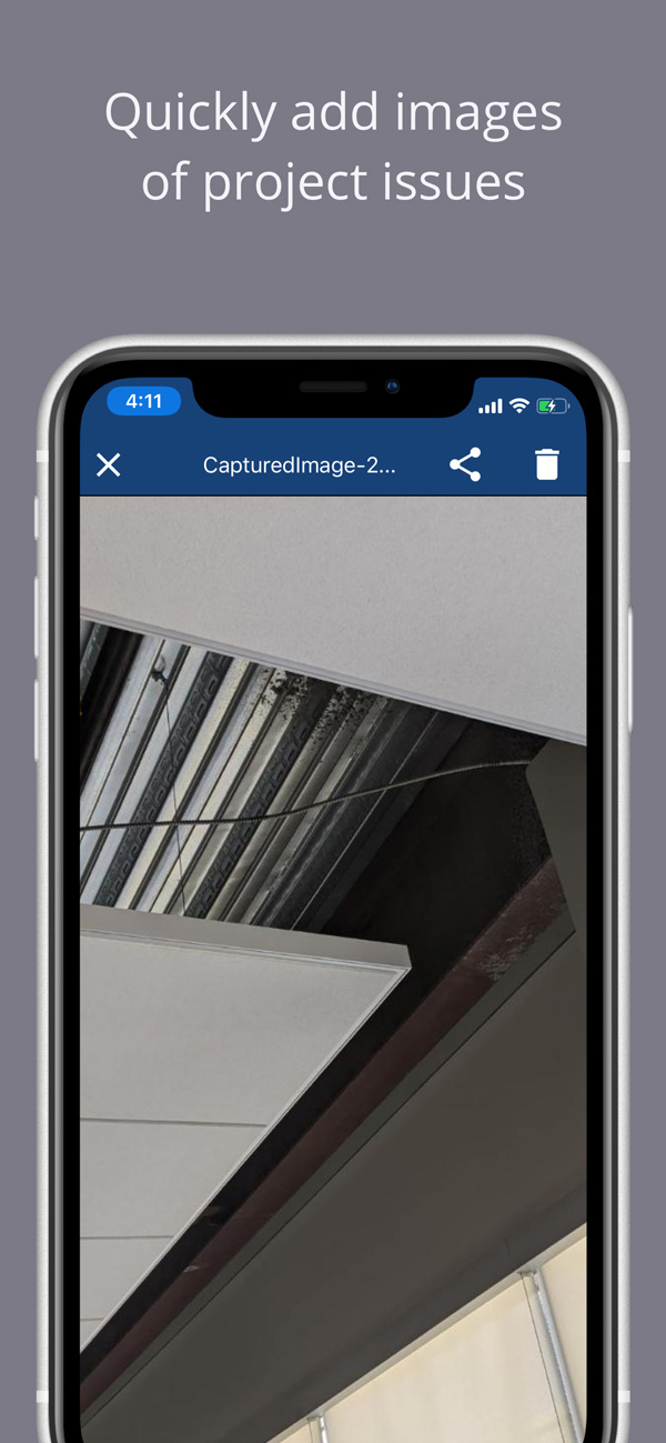 Quickly add images of construction project issues
