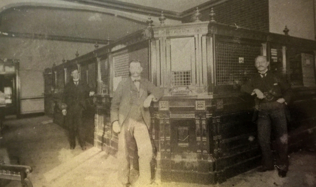 Inside the old Dutton Bank, now The Bank Bar Lounge. Photo courtesy of the Matheson Museum)