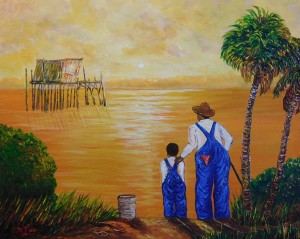 """A painting in Ernest Lees """"Grandpa and Me"""" series. This painting shows the old """"Honeymoon Suite"""" off Cedar Key."""