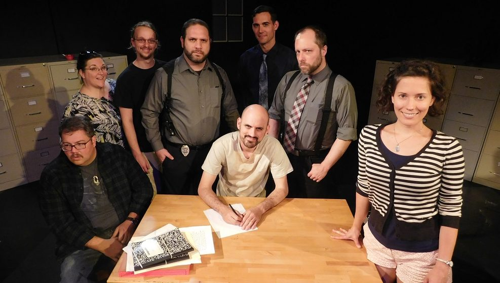 Cast and crew of The Pillowman include, from left, Bradley T. Hicks, Mandy Fugate, Adam Lishawa,