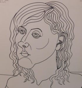 Kesls line drawing of his daughter Charlotte.