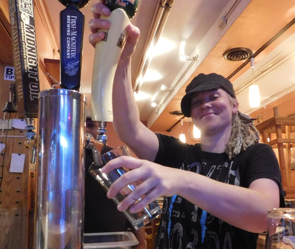 J.J. Johnston pours from the taps at the Jam.