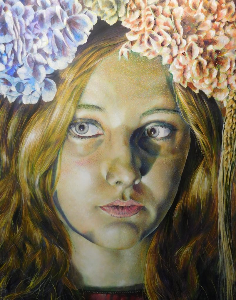 """""""Girl with Flowers #4,"""" by Jeffrey Luque"""