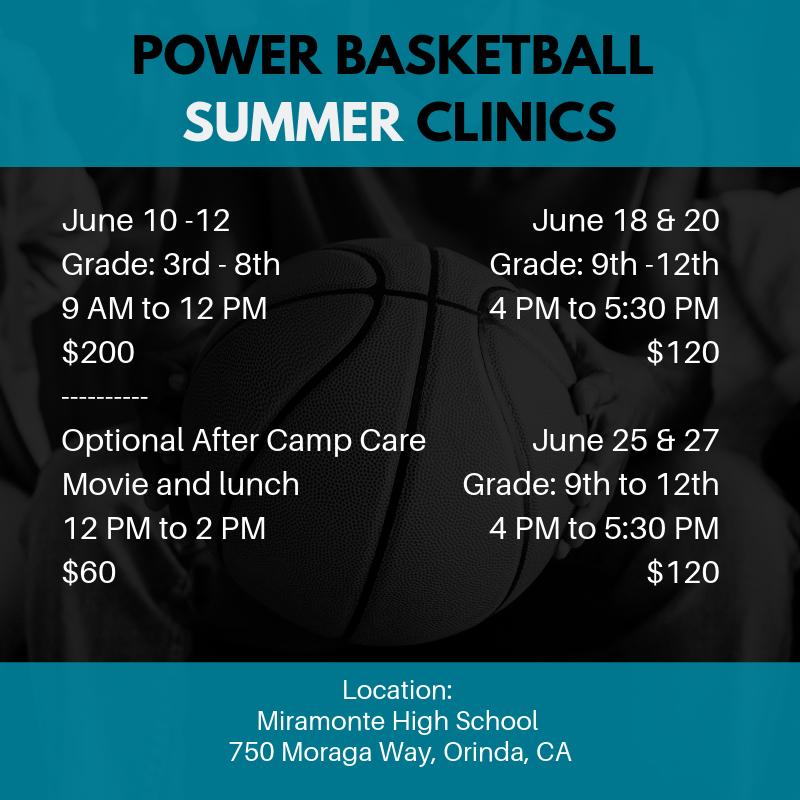 Power Basketball Summer Clinic info flyer