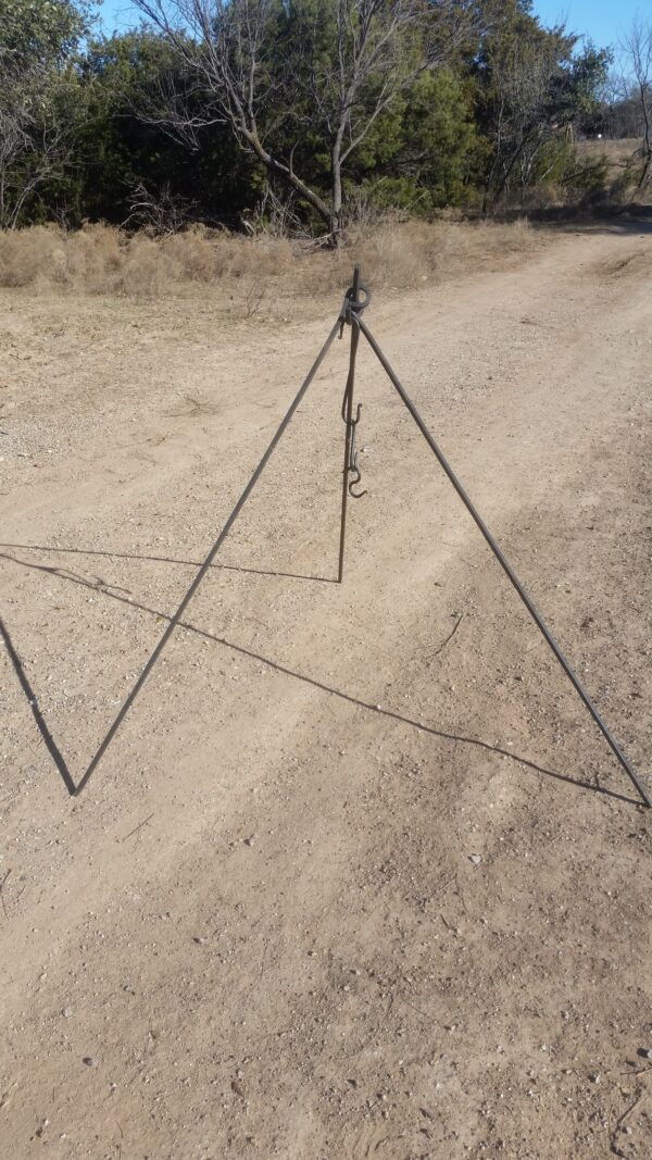 Handmade steel tripod with S hooks for holding pots over an open fire