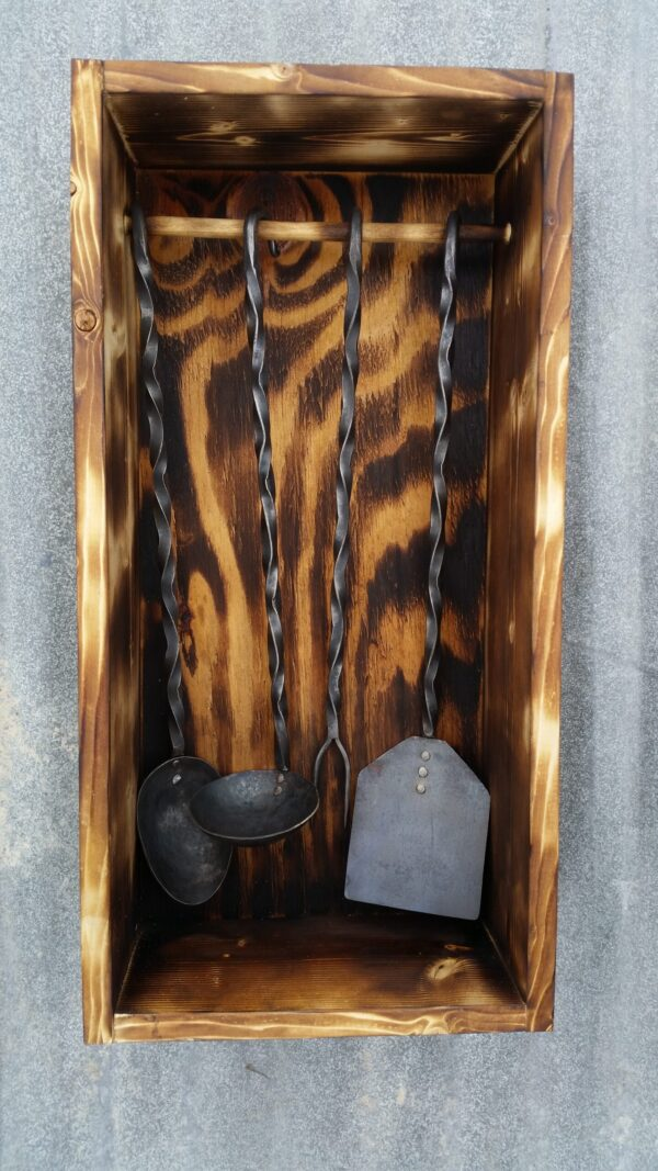 Handmade steel BBQ tool set and display box
