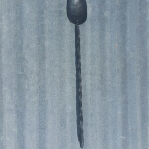 Handmade steel BBQ spoon with twist design and hook for hanging