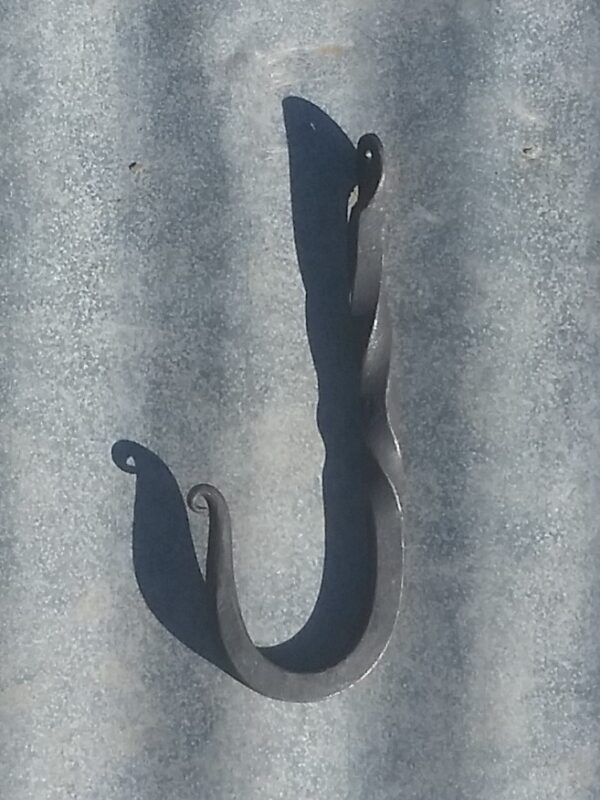 Hand forged wrought iron coat hook
