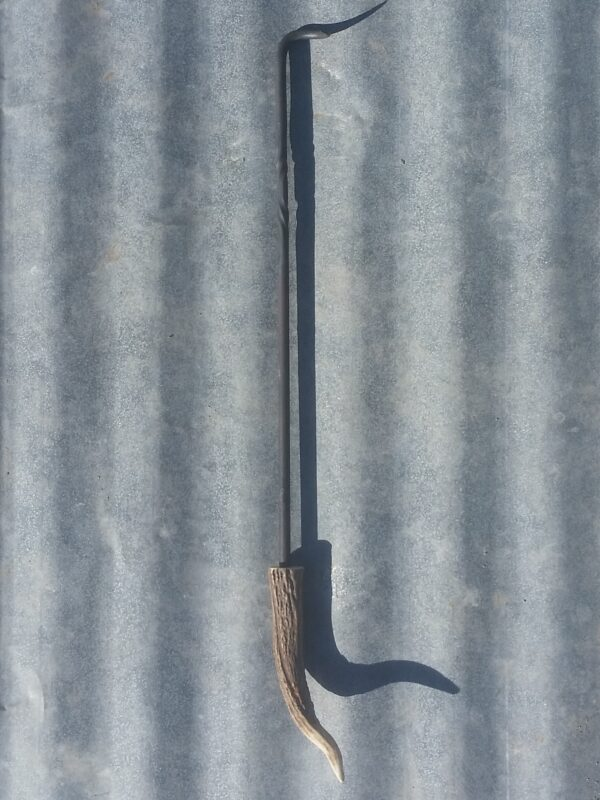 Handmade pigtail BBQ meat turner with antler handle