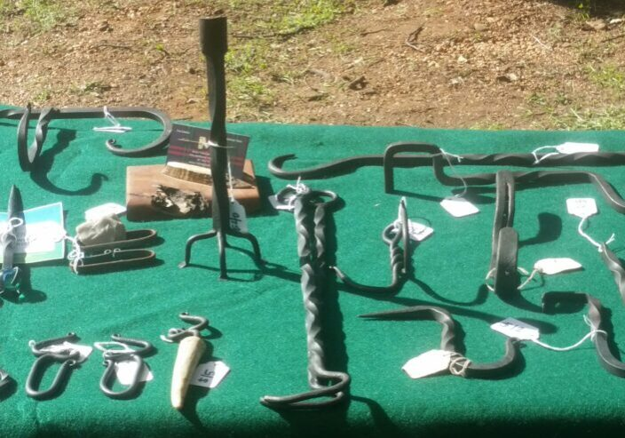 Handmade Steel BBQ Tools and Home Décor Accessories on Craft Show Table