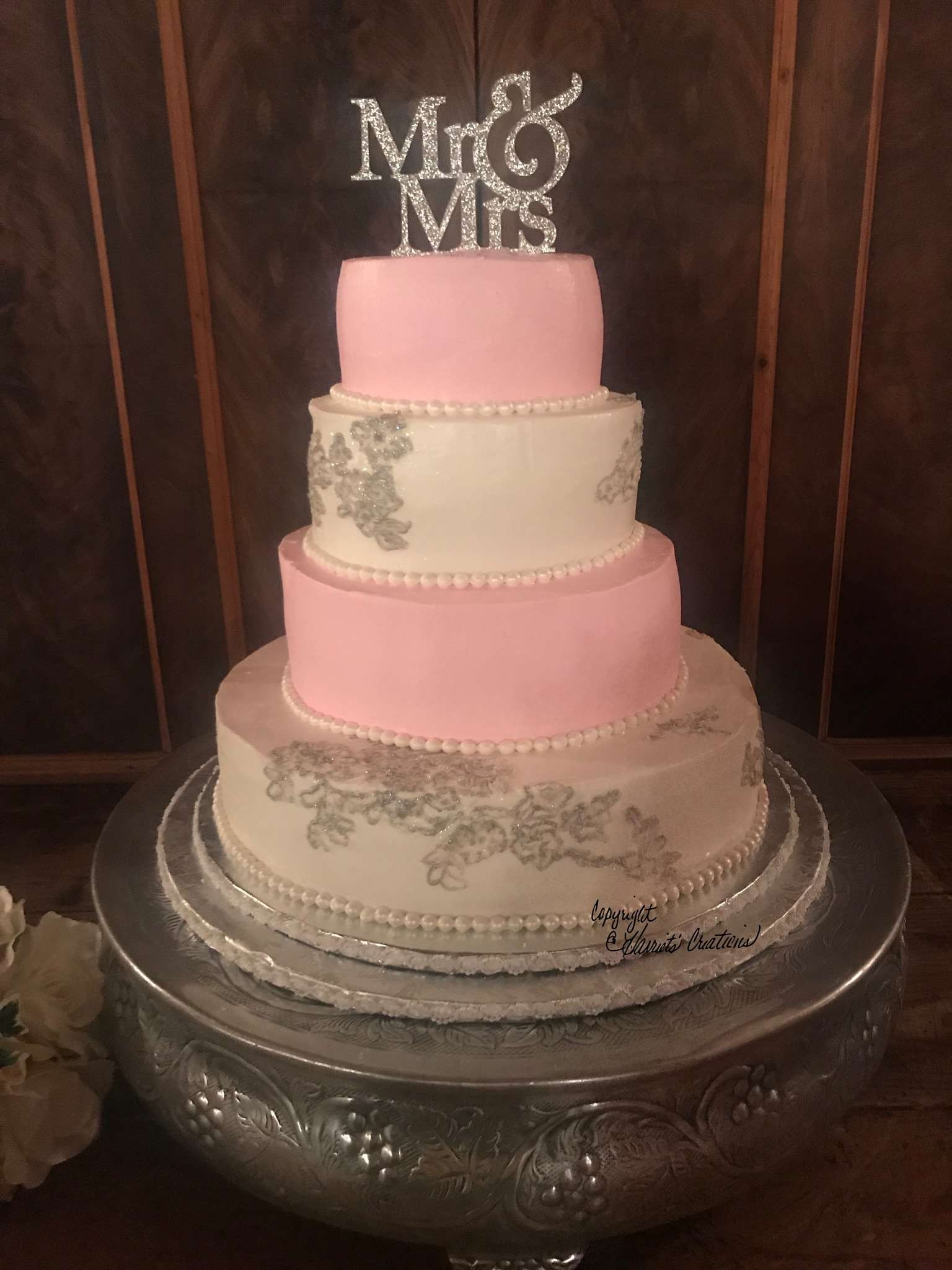 mr and mrs pink wedding cake