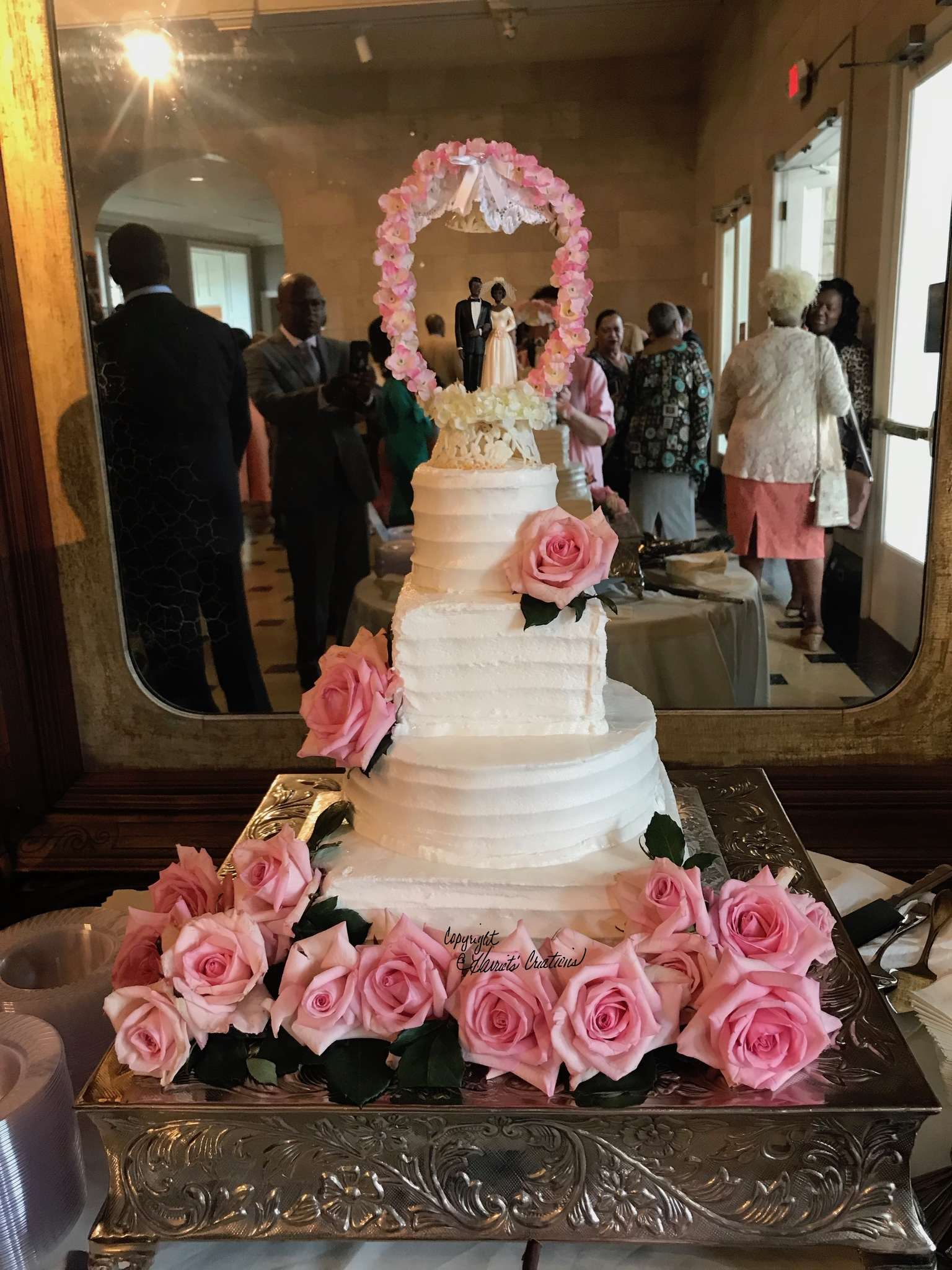 tall combed wedding cake
