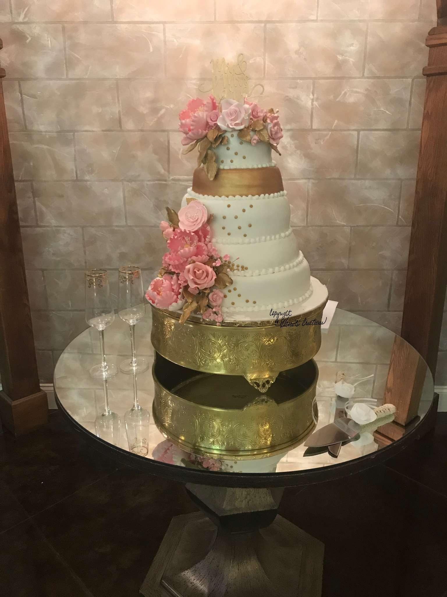 fondant wedding cake with peonies