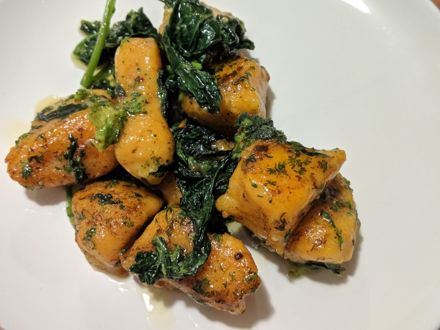 Sweet Potato Gnocchi And Rapini In A Browned Garlic And Sage Butter Sauce With Reggiano Parmigiano