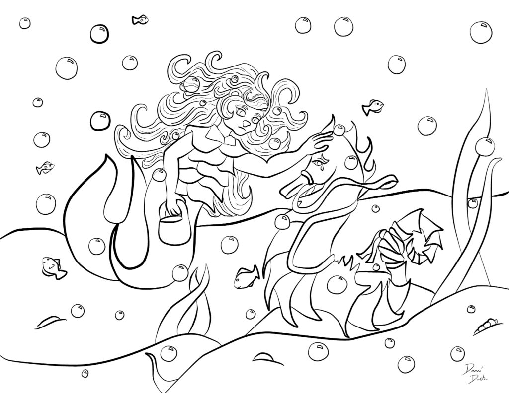 Mergirl and Seahorse sad