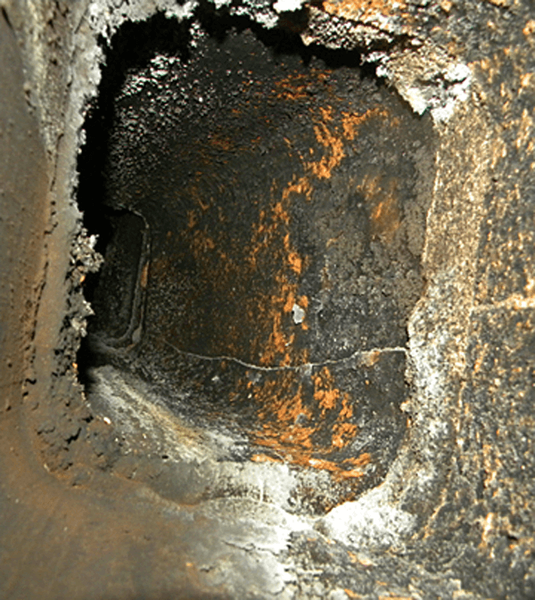 chimney inspection - dirty clay chimney liner