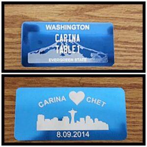 anodized blue custom tag
