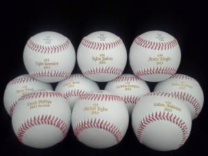 Laser Engraved baseballs Engraved here at Cascade Laser Corporation