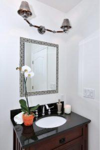 Spanish, bungalow, black and white, Hollywood, interior design, urchin light, black, Spanish tiles, tile, vintage, white kitchen, house flip, Marilynn Taylor
